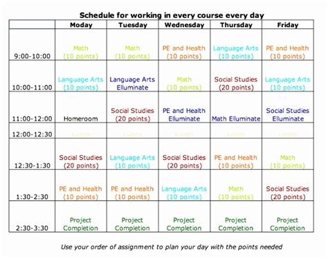 Middle School Schedule Template by 5 Middle School Schedule Template Eiuyt Templatesz234