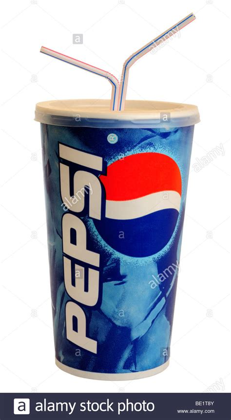 Paper Cup Large 1 Large Paper Cup Of Pepsi Cola With Straws Stock Photo