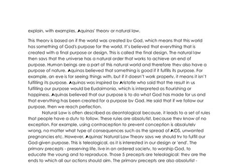 Aquinas Essay by Explain With Exles Aquinas Theory Or A Level Religious Studies Philosophy