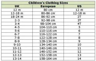 children s clothing conversion chart work ideas