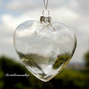 6 x clear heart shape glass baubles ornaments for