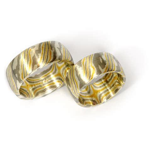 Eheringe 916 Gold by Goldschmiede Mojo Design Eheringe Mokume Gane Gelbgold