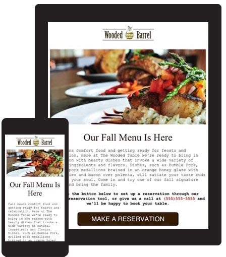 restaurant newsletter template mobile friendly and responsive email templates