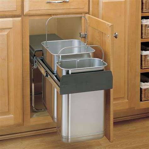 under kitchen sink trash can rev a shelf stainless steel sink base pull out waste