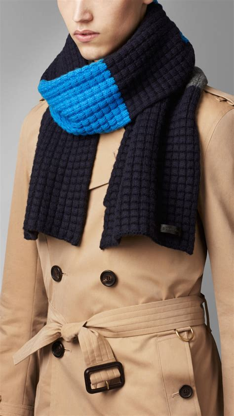 knitting pattern burberry scarf burberry waffle knit wool cashmere scarf in blue for men