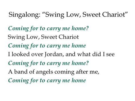 swing low sweet chariot song meaning lecture 11iii increasing conflicts over slavery