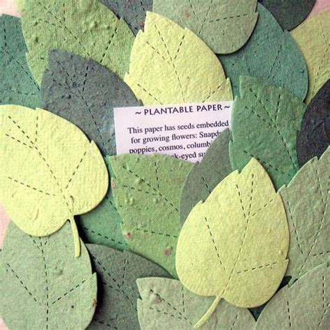 How To Make Plantable Seed Paper - 100 wedding favor flower seed plantable paper leaves