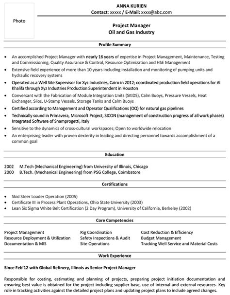 oil  gas cv format oil  gas resume sample  template