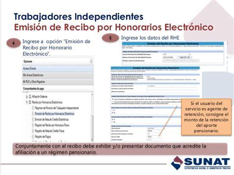 retencion de dinero por sunat recibos por honorarios 2016 presentacion trabajador independiente aporte pension