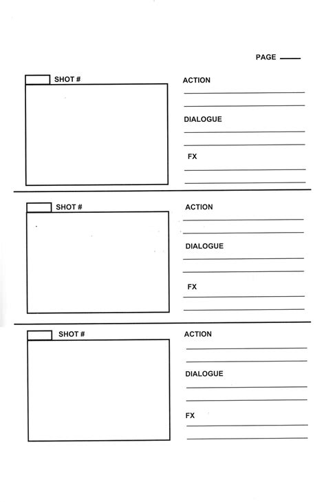 storyboard template word vertical format