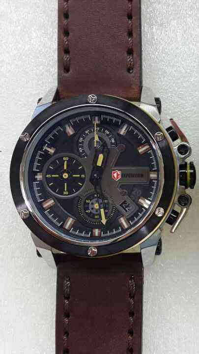 Expedition 6603 Leather Original jual expedition 6603 white steel brown leather baru jam
