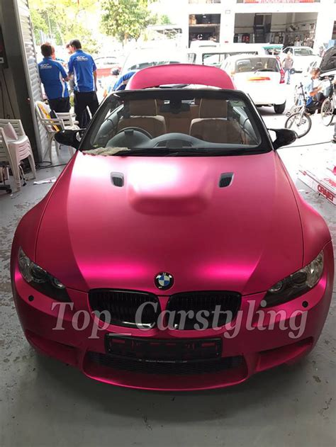 car film wrap malaysia luxury satin chrome rose red vinyl car wrap film for