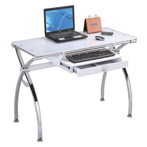 Acme Furniture Retro 92062 Contemporary Metal And Glass Glass And Metal Computer Desk