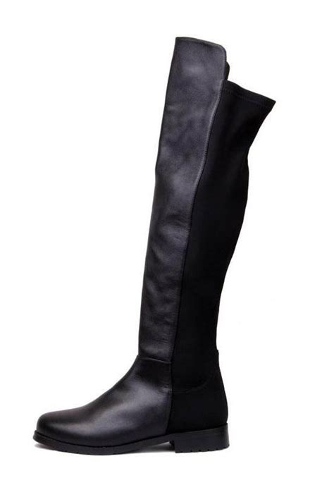 leather lycra flat knee high boots black shein sheinside