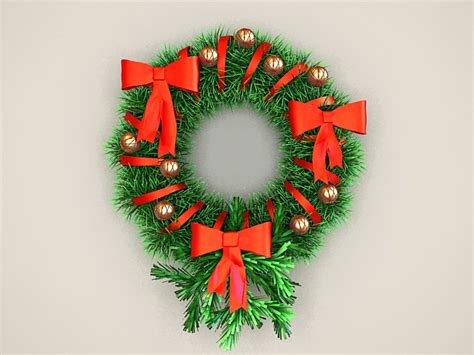 christmas decorations wreath 3d model 3ds max files free
