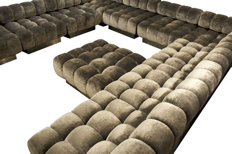 Sectional Sofa With Large Ottoman Lovable Grey Velvet U Shaped Tufted Sectional With Square Tufted Ottoman As Decorate In Modern