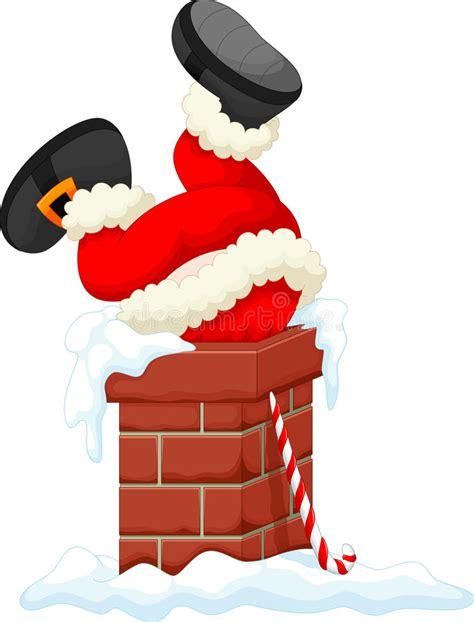santa claus stuck in the chimney stock illustration