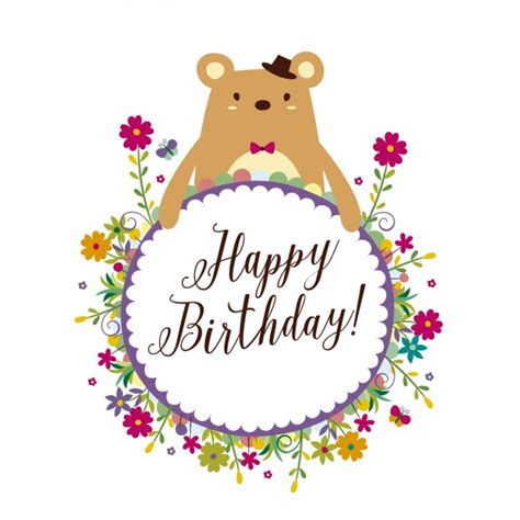 Birthday Card Frames Free Birthday Card With Floral Frame Vector Free Download