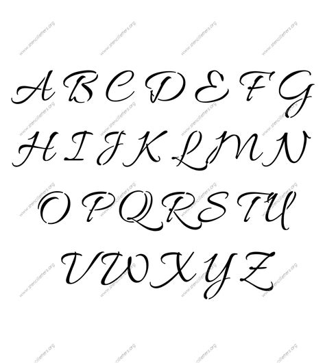 printable font size connected cursive uppercase lowercase letter stencils a