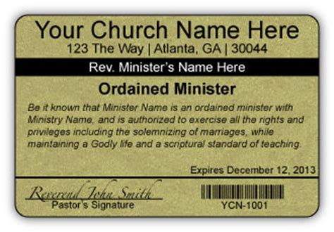 church id card template custom made minister s licenses startchurch everything