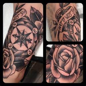 Tattoo old school compass tattoo rose black and grey tattoo