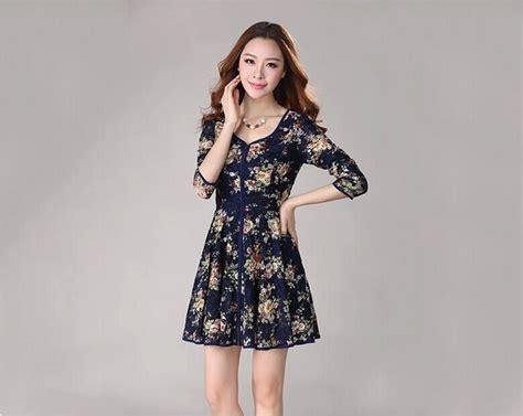 pattern dress long sleeve chinese national dress floral pattern long sleeve v neck