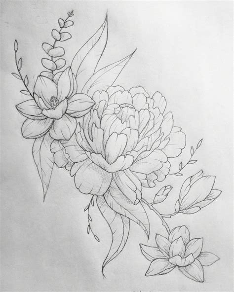 tattoo sketch design peony eucalyptus magnolia interested in custom