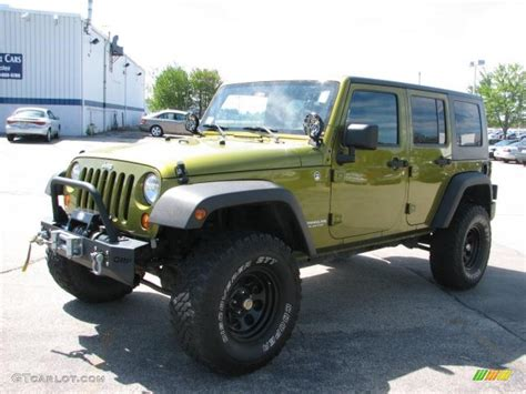 dark green jeep lifted 2007 rescue green metallic jeep wrangler unlimited x 4x4