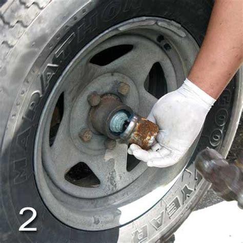 boat trailer wheel hub removal repacking trailer tire bearings trailering boatus magazine