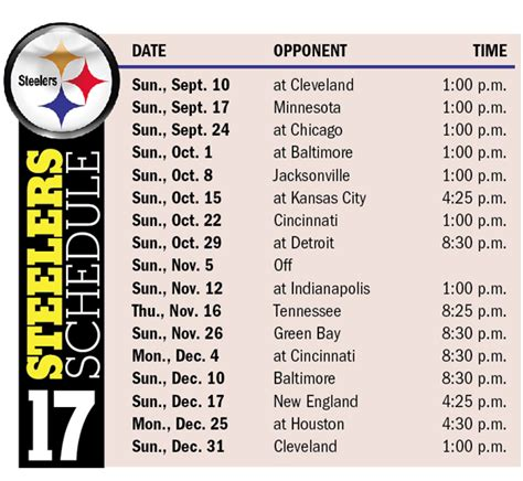 2017 nfl schedule release times dates released for steelers 2017 schedule