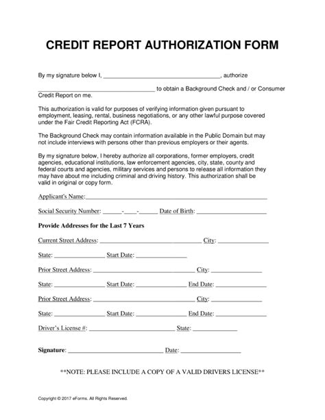 credit report authorization form template authorization to pull credit report template