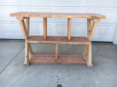 X Leg Console Table X Leg Console Table With Shelves Buildsomething