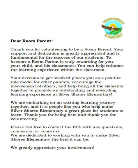 Room Parent Letter Introduction 7 Sle Thank You Letter Free Sle Exle Format