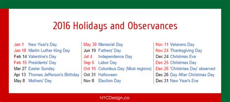 2016 calendar with holidays usa calendar 2016 holidays