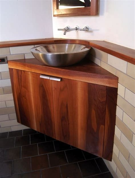 awesome brown wood corner bathroom vanity  silver