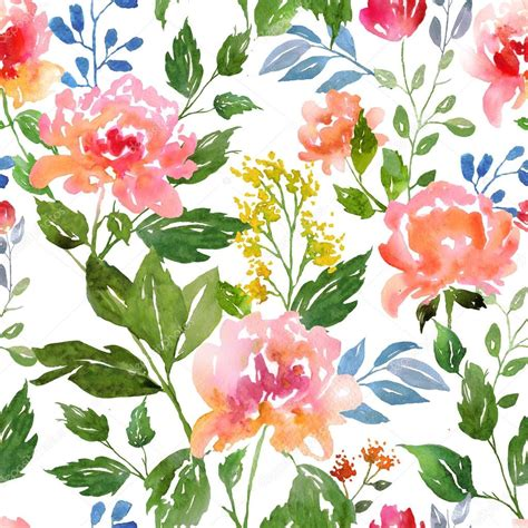Floral Flowers by Watercolor Floral Pattern Stock Photo 169 Yaskii 78599552