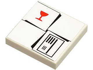 Stiker Fragile Ds bricker part lego 3068bpb0155 tile 2 x 2 with parcel white with fragile goblet pattern