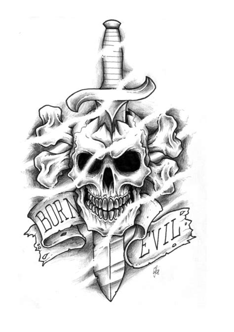 wicked skull tattoo designs evil skulls designs