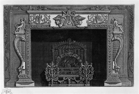 Ornate Fireplace by Fireplace With A Large Ornate Metal Wing Piranesi