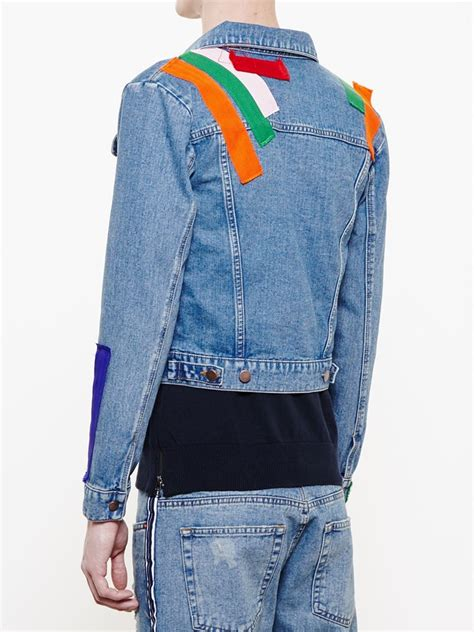Patchwork Denim Jacket - patchwork denim jacket in blue for lyst