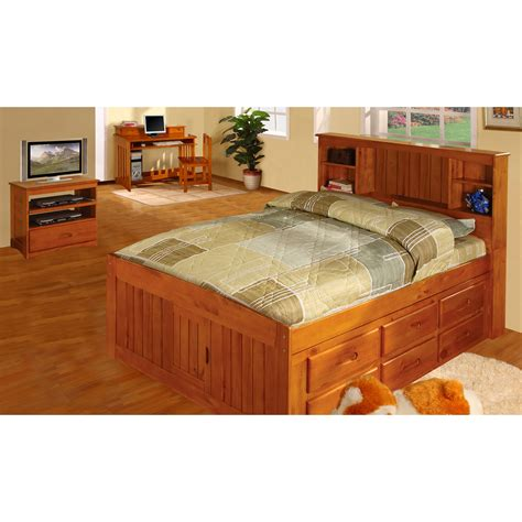 captain bed full discovery world furniture honey full size captains bed