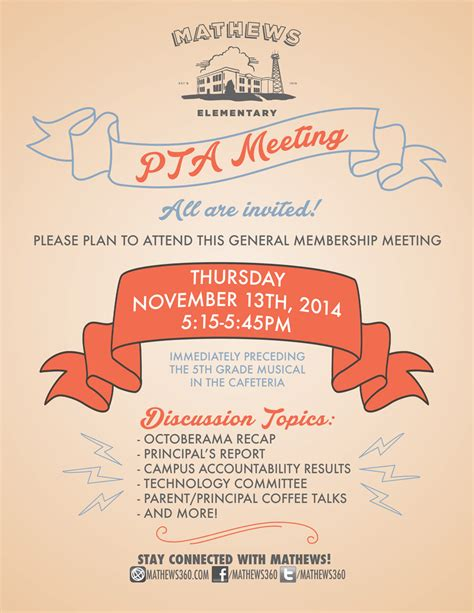 Invitation Letter To Parents For Pta Meeting General Pta Meeting This Thursday Nov 13th Mathews Elementary