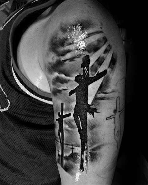 silhouette tattoos for men 60 jesus arm designs for religious ink ideas
