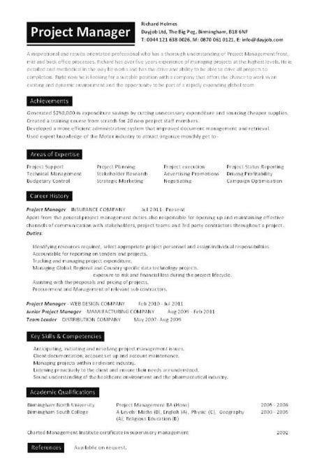 Project Manager Resume by Project Manager Cv Template Construction Project