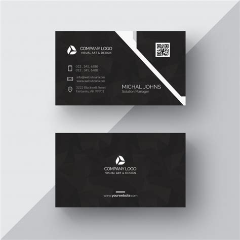great business card black and silver template free cart 227 o de visita preto detalhes em prata