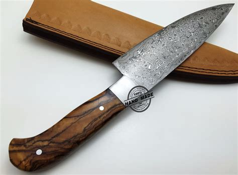 Handcrafted Knives - regular damascus kitchen knife custom handmade damascus steel4