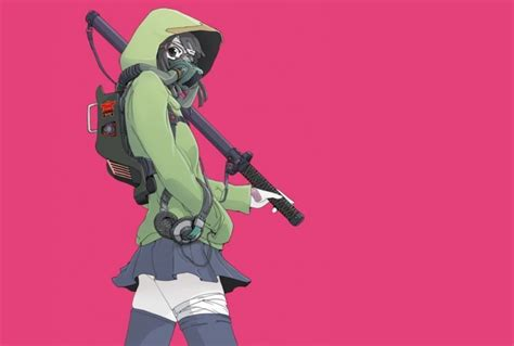 anime girls anime original characters gas masks