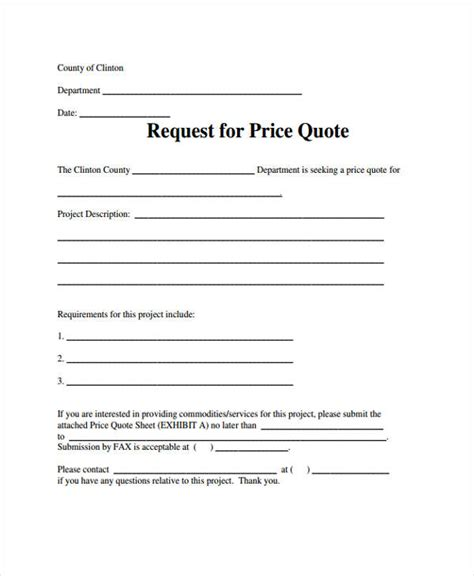 price quotation template 9 free sle exle format
