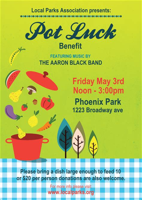 Potluck Flyer Template by Potluck Benefit Club Flyer