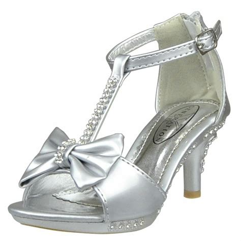 A Silver Dress Shoes by S T Rhinestone Bow Open Toe High Heel Dress Shoes Silver Size 10 4 Ebay